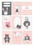 Reeks babykaarten met leuke dieren en bloemelementen royalty-vrije illustratie