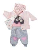 Reeks babykleren voor babymeisje Royalty-vrije Stock Afbeeldingen