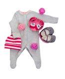 Reeks babykleren voor babymeisje Stock Afbeelding