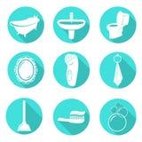Reeks badkamerspictogrammen Stock Afbeelding