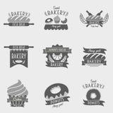 Reeks bakkerijemblemen, etiketten, kentekens Royalty-vrije Stock Afbeelding
