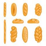 Reeks bakkerijproducten Brood, brood, hala, baguette in beeldverhaalstijl vector illustratie