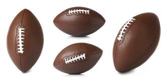 Reeks ballen van het leer Amerikaanse voetbal op witte achtergrond stock foto