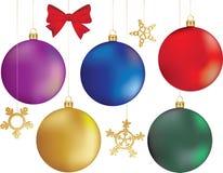 Reeks ballen van Kerstmis stock afbeelding