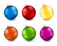 Reeks ballen van kleurenKerstmis Royalty-vrije Stock Afbeeldingen