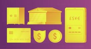 Reeks bank gouden elementen voor infographics en Webbanners De bankbouw, creditcard, smartphone, muntstuk, brandkast, schild stock illustratie