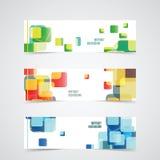 Reeks Bannermalplaatjes met Kleurrijke Abstracte Achtergrond Vecto Royalty-vrije Stock Afbeeldingen