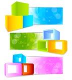 Reeks banners met 3d element Royalty-vrije Stock Afbeeldingen