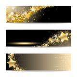 Reeks Banners met Gouden Sterren Stock Fotografie