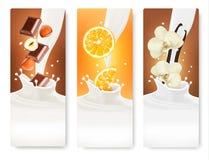 Reeks banners met hazelnoten, chocolade, sinaasappelen en vanille Stock Afbeelding