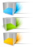 Reeks banners met kubussen Stock Fotografie