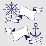 Reeks banners met mariene pictogrammen. Stock Foto