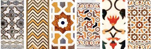 Reeks banners met oud geometrisch ornament op marmer, India Stock Afbeeldingen