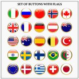 Reeks banners met populaire vlaggen stock illustratie