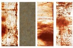 Reeks banners met roestige metaaltextuur Stock Afbeelding