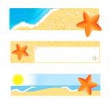 Reeks banners met seastar Stock Foto's