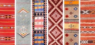 Reeks banners met texturen van tapijten van de berber de traditionele wol stock foto