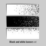 Reeks banners met zwart-witte cirkelachtergrond Royalty-vrije Stock Afbeelding