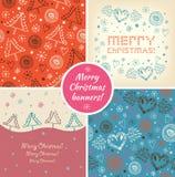 Reeks banners van de Kerstmisvakantie Inzameling van Kerstmis decoratieve elementen Stock Afbeelding