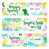 Reeks banners van de de lenteverkoop vector illustratie
