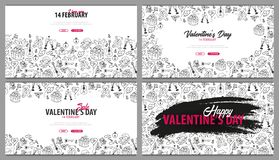 Reeks banners van de Valentijnskaartendag met krabbelachtergrond 14 Februari Vector illustratie vector illustratie