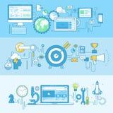 Reeks banners van het lijnconcept voor Webontwikkeling, zaken, marketing vector illustratie