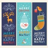 Reeks banners van Kerstmis en van Nieuwjaren Stock Afbeelding