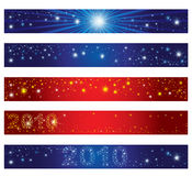 Reeks banners van Kerstmis met sterren Stock Afbeelding