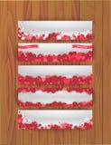 Reeks banners voor St Valentijnskaartendag met abstracte achtergrond van harten Royalty-vrije Stock Afbeelding