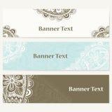 Reeks banners voor zaken Collectief identiteits vectormalplaatje met krabbels voor uw ontwerp Royalty-vrije Stock Fotografie