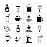 Reeks bar, dranken en drankenpictogrammen Stock Foto's