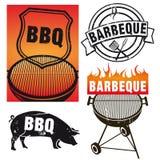 Reeks barbecuetekens Stock Afbeelding