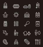 Reeks BBQ pictogrammen Royalty-vrije Stock Fotografie