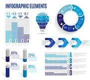 Reeks bedrijfs blauwe infographic elementen Malplaatje voor presentatie, grafiek, grafiek Vector illustratie Royalty-vrije Stock Afbeeldingen