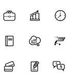 Reeks bedrijfs en het winkelen pictogrammen Royalty-vrije Stock Foto's