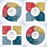 Reeks bedrijfs infographic cirkelmalplaatjes 4 stap vectorbanners Stock Afbeeldingen
