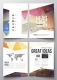 Reeks bedrijfsmalplaatjes voor brochure, tijdschrift, vlieger, boekje of jaarverslag Abstracte kleurrijke veelhoekig vector illustratie