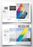 Reeks bedrijfsmalplaatjes voor brochure, tijdschrift, vlieger, boekje of jaarverslag Abstracte kleurrijke veelhoekig stock illustratie
