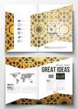 Reeks bedrijfsmalplaatjes voor brochure, tijdschrift, vlieger, boekje of jaarverslag Islamitische gouden vectortextuur royalty-vrije illustratie