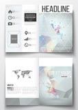 Reeks bedrijfsmalplaatjes voor brochure, tijdschrift, vlieger, boekje of jaarverslag Moleculaire bouw met verbonden Stock Foto's