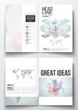 Reeks bedrijfsmalplaatjes voor brochure, tijdschrift, vlieger, boekje of jaarverslag Moleculaire bouw met verbonden Royalty-vrije Stock Foto