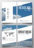 Reeks bedrijfsmalplaatjes voor brochure, tijdschrift, vlieger, boekje of jaarverslag Mooie blauwe hemel, samenvatting Stock Fotografie