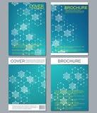 Reeks bedrijfsmalplaatjes voor brochure, vlieger, dekkingstijdschrift in A4 grootte DNA van de structuurmolecule en neuronen geom Stock Fotografie