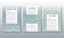 Reeks bedrijfsmalplaatjes voor brochure, vlieger, dekkingstijdschrift in A4 grootte DNA van de structuurmolecule en neuronen geom Stock Afbeelding