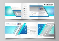 Reeks bedrijfsmalplaatjes voor brochures van het trifold de vierkante ontwerp Pamfletdekking, vectorlay-out Chemiepatroon stock illustratie