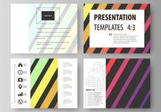 Reeks bedrijfsmalplaatjes voor presentatiedia's Vectorlay-outs in vlakke stijl Stock Afbeeldingen