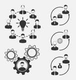 Reeks bedrijfsmensen, concept efficiënt groepswerk Royalty-vrije Stock Afbeelding