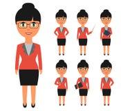 Reeks bedrijfsmensen in vlakke stijl De vrouwen met zwart haar in bureaukleren in verschillend stelt Stock Fotografie