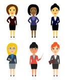 Reeks bedrijfsmensen in vlakke stijl die op witte achtergrond wordt geïsoleerd Vrouwen Royalty-vrije Stock Fotografie