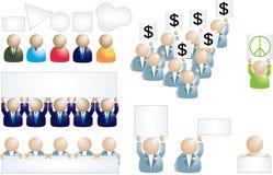 Reeks bedrijfsmensenpictogrammen met banner Royalty-vrije Stock Afbeelding